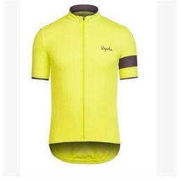 Wholesale yellow Rapha Cycling Jerseys Short Sleeves Summer Cycling Shirts Bike Wear Comfortable Breathable Hot New Rapha Jerseys Colors