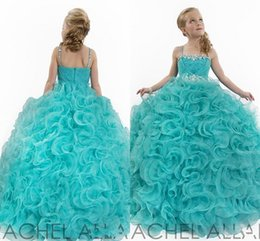Princess Ball Girl's Pageant Flower Girl Dresses Formal Gown With Princess Spaghetti Strap Beads Crystal Pleats Ruffles Aqua Pageant Dresses