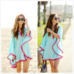 Swimwear Cover-Ups Summer Dress bikini swimsuit beach cover up for women's drooping tassels bat sleeve capes dress Beach blouse georgette