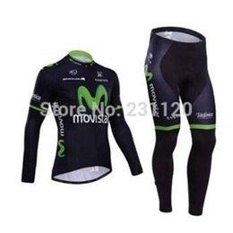 Wholesale Long Bib Movistar - HOT SALES Movistar cycling jersey summer cycling jersey long sleeve and cycling bib pant kits movistar team 2014 ropa ciclismo green