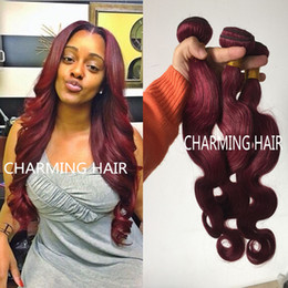 unprocessed grade 7A brazilian virgin hair red wine burgundy 99J color body wave human hair weaves 3pcs per lot free shipping