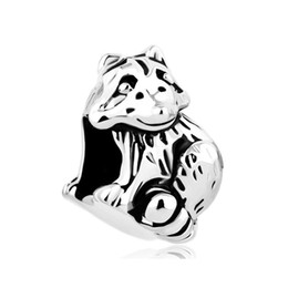 Big Hole beads cute Raccoon animal lucky European spacer bead metal charm bracelets Pandora Chamilia Compatible