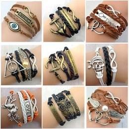 Wholesale Free FedEx DHL Designs Leather Bracelet Antique Cross Anchor Love Peach Heart Owl Bird Believe Pearl Knitting Bronze Charm Bracelets