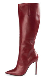 Red Knee High Boots For Women Side Zip Genuine Leather Stiletto Heel 12CM Pointed Toes Winter Boots Dress Shoes Night Club Ladies Shoes