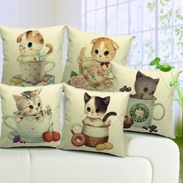 5 Styles Lovely Cats Cushion Covers Cat Bucks Coffee Mug Flower Rose Cup Cushion Cover Sofa Throws Decorative Linen Cotton Pillow Case Gift