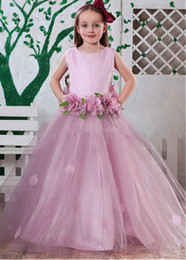 Glitz Pageant Dresses 2015 Princess Hand Made Flowers Floor Length pageant dresses for little girls Dresses Custom Made