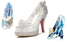 Wholesale 2015 New Hot Cinderella Luxury Prom Wedding Shoes Princess High Heel Sparkly Crystals Lace white summer sandals Peep Toe Bridal Shoes MYF106
