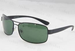 Descuento lentes polarizadas Marco de las gafas de sol de metal rectangular Negro Hombres / verde lente gafas de sol gafas polarizadas G15 vidrio de Sun 3379