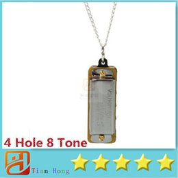 Wholesale Swan Mini Harmonica Necklace Hole Tone Children Musical Instruments Silver