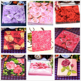 Food-grade table paper napkins tissue beautiful printed pattern rose pink red purple decoupage home hotel wedding party cocktail decorative