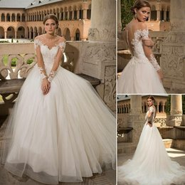 Gorgeous Lace Wedding Dresses Long Sleeve Lace Bridal Gowns Bien Savvy 2016 A-Line Off-Shoulder Pleated Ruffled Court Train Custom Made
