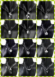 Wholesale Mix style silver necklace zircon heart lantern lotus chrysanthemum plum blossom clover pendant charm necklace