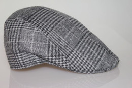 Wholesale-Winter and Fall Men Elegant Vintage Checker Woolen Berets Hat Peak Cap