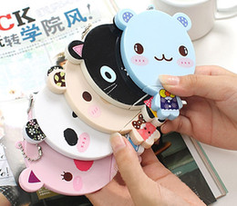 Wholesale Cute cartoon animal comb mirror set Makeup Mirrors portable pocket cosmetic mirror FreeShipping colors