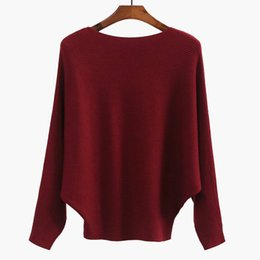 2017 Autumn and winter Europe and Americanew pure color bat-sleeve knit sweater long sleeve women's pullovers