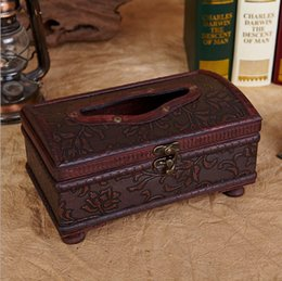 Wholesale Free ship Creative antique wooden tissue box European style hotel with a restaurant bar retro leather drawn box paper