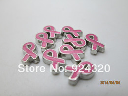 Wholesale-2015 Floating Pink Cancer Ribbon Charm Fits Memory Locket