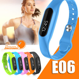 Wholesale E06 OLED Touch Screen Smart Wristband Bracelet Bangle Fitness Wearable Tracker Waterproof IP67 Bluetooth Watch for Android IOS Phone