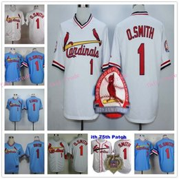 Wholesale Ozzie Smith Jersey Retro Baby Blue White th Patch Jerseys