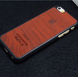 Wholesale 2015 Luxury Wood Grain print pattern Vintage case cases Wooden PC business Retro cover with apple logo for iphone s s plus new