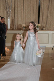 Wholesale Kids Dresses Cheap Prices - Sequined Silver Flower Girls Dresses 2015 For Weddings A Line Tulle Floor Length Cheap Price Girls Pageant Dress Formal Kids Communion Dress