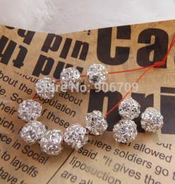 Wholesale-Free Shipping Shamballa Spacer Beads 8mm White Crystal Glass Handicraft Globose Beads,Silver Plated Pave Rhinestone Balls