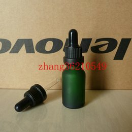 15ml green frosted Glass Essential Oil Bottle With black plastic burglarproof dropper cap.Oil vial, Essential Oil packing