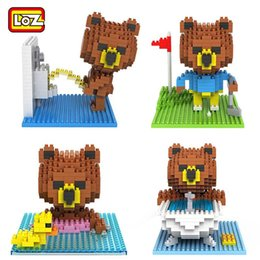 Wholesale 4PCS Brown Bear LOZ Building Blocks Line Town Brown Golf Swim Bath Pee pee Scenes Mini Diamond Blocks D puzzle Educational Toys Gift