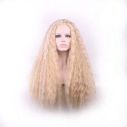 WoodFestival long blonde wig kinky curly synthetic hair wigs women african american good quality heat resistant fiber wigs cosplay 70cm