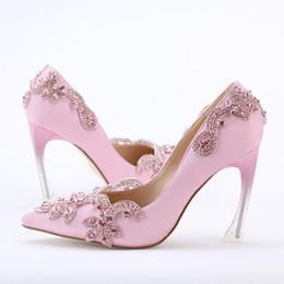 2017 taille 34 talon rose Crystal Clear talon Envening Parti de bal Chaussures à talon de 9cm bout pointu de mariage chaussures de mariée Taille 34-42 Taille Plus rose Pompe Satin taille 34 talon rose sur la vente