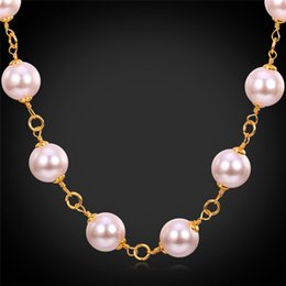 Pink Pearl Jewelry 18K Gold Plated Big Pearls Necklace For Women High Quality Fashion Accessories Gift For Her MGC