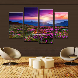 Hot Sell Flower Canvas Painting The Sunset and The mountain Modern Home Wall Decor Canvas Picture Art HD Print Painting On Canvas Wall Art