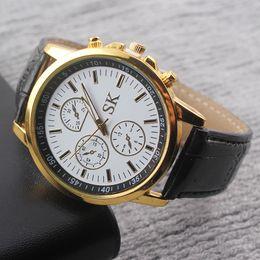 Wholesale Luxury Fashion Faux Leather Watch Men Business Cool Quartz Analog Watch Brand Men Watches High Quality W38