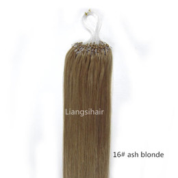 """Brazilian Hair Products 8A 16""""-26"""" 100s 16# Ash Blonde Loop Micro Ring Hair Extensions Real Straight Brazilian Virgin Remy Human Hair"""