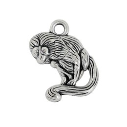 Wholesale New Fashion Easy to diy antique silver plated single side tamarin monkey animal mm charms jewelry making fit for n