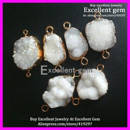 Wholesale 5pcs Small cute size Druzy quartz Connectors in kt Gold Plated Natural white color druzy gem stone Finding beads