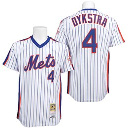 Wholesale Baseball Jerseys New York NY Mets Throwback Jerseys Lenny Dykstra White With Blue Pinstriped Home Authentic Stitched Jersey