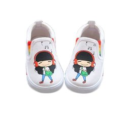 2015 spring autumn kids shoes music girls single shoes canvas shoes children shoes white color
