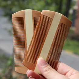 Wholesale Two Side Peach Wood Comb Romove Lice Healthy Massage Hair comb Brush Care Styling Tools Natural Fruitwood Comb