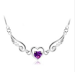 Wholesale 925 Silver Angel Wings Necklace Fashion Short Chain Necklace Heart Pendant Necklace Love Pendant Necklace
