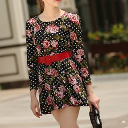 Wholesale Long sleeve of new fund of autumn fashion printing cultivate one s morality round collar broken beautiful dress