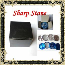 Wholesale Sharp Stone herb Grinders Alloy Tobacco herbal Grinder Layered Cigar herb Spice Crusher Machine Magnet Strainer Inside Sharp stone smoking