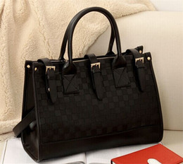 Wholesale 2015 new Fashion Women s Grid Bag Checker Board Synthetic Leather Handbag Shoulder Bag