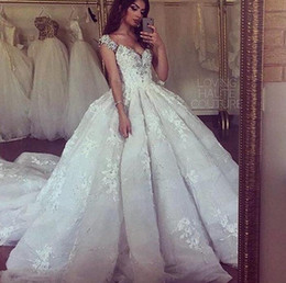 Exquisite Fall Wedding Dresses 2015 Applique Elie Saab Beads Crystal V-Neck Capped A-line Court Train Bridal Dresses Ball Gowns Custom