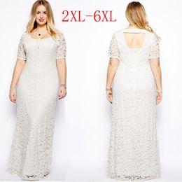 Wholesale Womens Plus Size Maxi Dress with Sleeves Female Vestidos Long White Lace Dress XL XL XL XL XL Fat Women Large Big Size Clothing