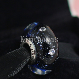 DIY Loose Beads Handmade Lampwork 925 Sterling Silver Midnight Effervescent Murano Glass Charm Bead Fits European Pandora Jewelry Bracelets