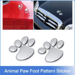 Wholesale 12pairs Hot Sale D Car Window Bumper Body Decal Sticker Bear Dog Animal Paw Foot Prints Pattern Sticker Gold Silver Tone