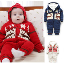 Wholesale 1pcs Christmas baby thick knitting rompers cartoon boy girl jump suit winter hooded infant garment One Piece xmas clothes Retail