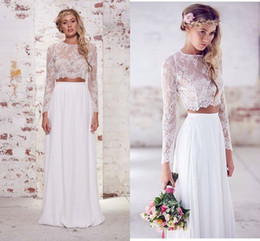 2019 Hot Sale Two Pieces Crop Top Bohemian Wedding Dresses Chiffon Ruched Floor Length Wedding Gowns Spring Lace Long Sleeve Wedding Dresses