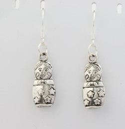 Wholesale 2016 hot Antique Silver D Star Russian Dolls Charm Pendant Earrings Silver Fish Ear Hook Chandelier E092 x39mm
